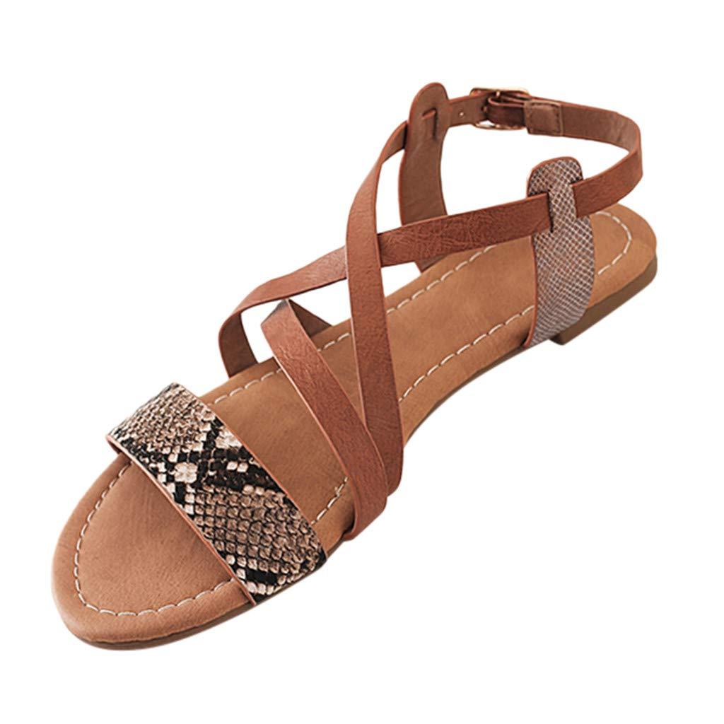 AHAYAKU Womens Fashion Snakeskin Flats Shoes Open Toe Cross Strap Ladies Roman Sandals Black