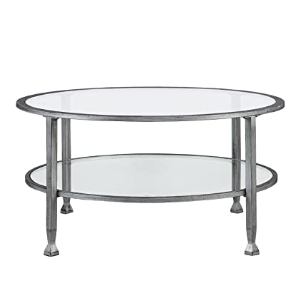 Superieur Southern Enterprises Jaymes Round Glass Cocktail Table, Silver Frame Finish