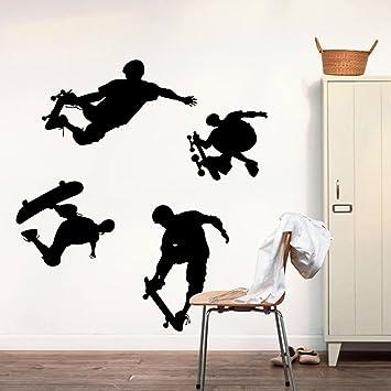 Skateboard Schattenbild Wand Aufkleber Eigenschaften 4  Skateboarding Tätigkeit Dekorative Entfernbare DIY Schwarze Vinyl Wandtattoo