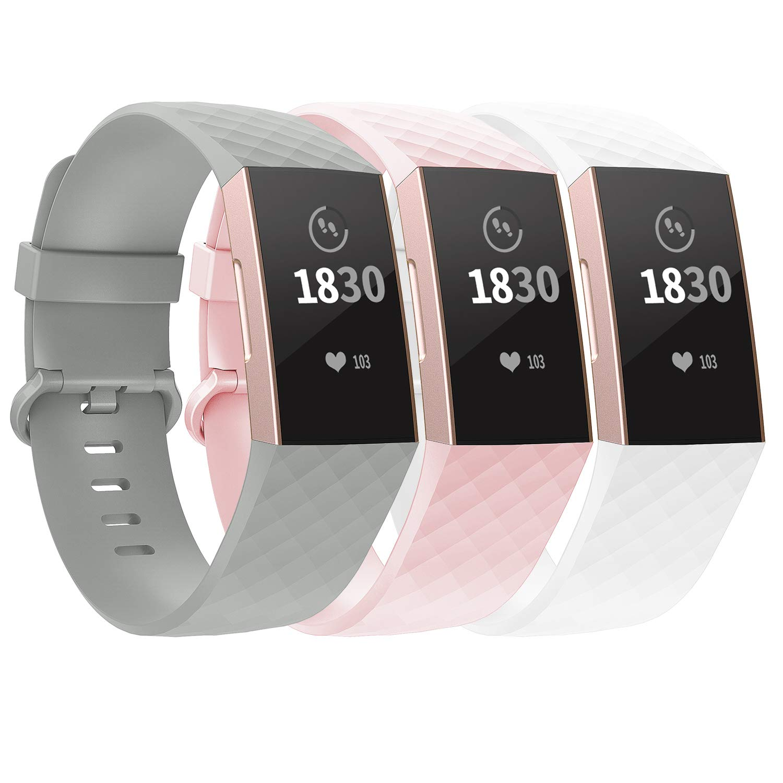 3 Mallas Large para Fitbit Charge 3/4 Gris pizarra / Rosa /