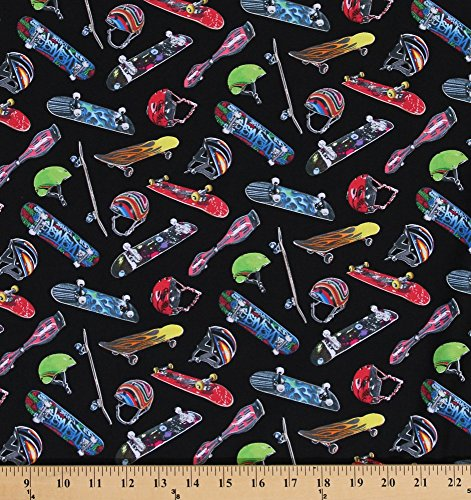 (Cotton Sports Skateboard Equipment Skateboard Helmets Helmet Cotton Fabric Print by the Yard)