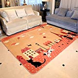 Children's Carpet Mats Cat Cartoon Mats Game Pad Living Room Carpet Bedroom Study Home ( Size : Pink 190cm240cm/74.594.5 inches )
