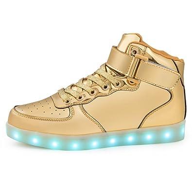 wholesale dealer 35a1f 2df31 Schuhe mit LED Sohle Leuchtschuhe Sportschuhe Blinkende Sneaker Licht  Kinder Mädchen Jungen Erwachsene (46, Gold)