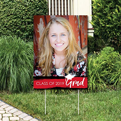 Custom Red Grad - Best is Yet to Come - Photo Yard Sign - Red 2019 Graduation Party Decorations