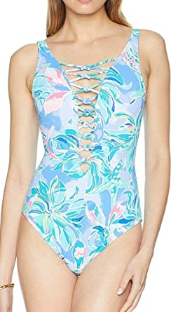 8c0f107bf80 Lilly Pulitzer Women's Isle Lattice One-Piece Swimsuit Bennet Blue  Celestial Seas 0