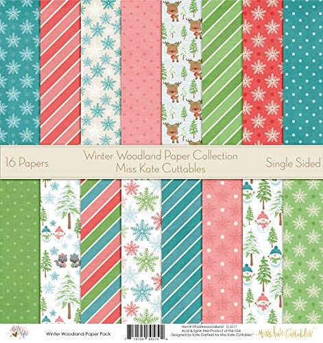 Pattern Paper Pack - Winter Woodland - Scrapbook Premium Specialty Paper Single-Sided 12