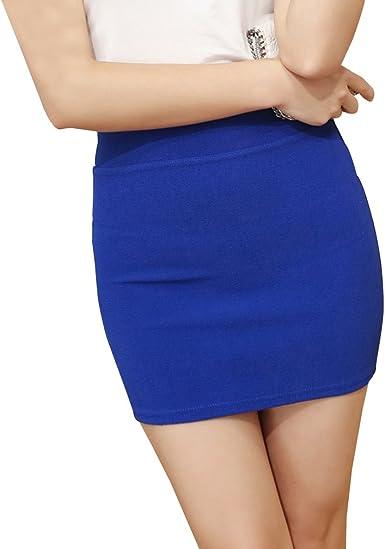 Mujer Falda Corta Básica Cintura Alta Elasticidad Bodycon Tubo ...