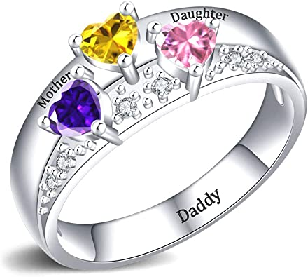 Personalized Birthstone Heart Ring Engraved with 3 Birthstones and 3 Names Mother Gift Sterling Silver Children Stone Ring Wife Gift