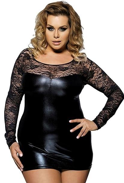 414bd9a3bce2 ... Soft Decorative Wet Look Babydoll Sexy Lingerie PVC Mini Dress Matching  Thong Set Plus Size UK 8 10 12 14 16 18 20lingerie Women  Amazon.co.uk   Clothing