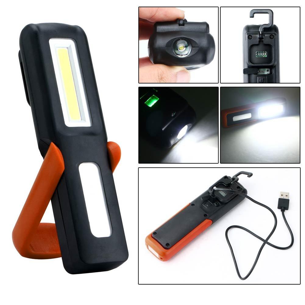 LED-Taschenlampe, wiederaufladbar, USB COB LED, 3 W, magnetisch, zum Campen und Angeln