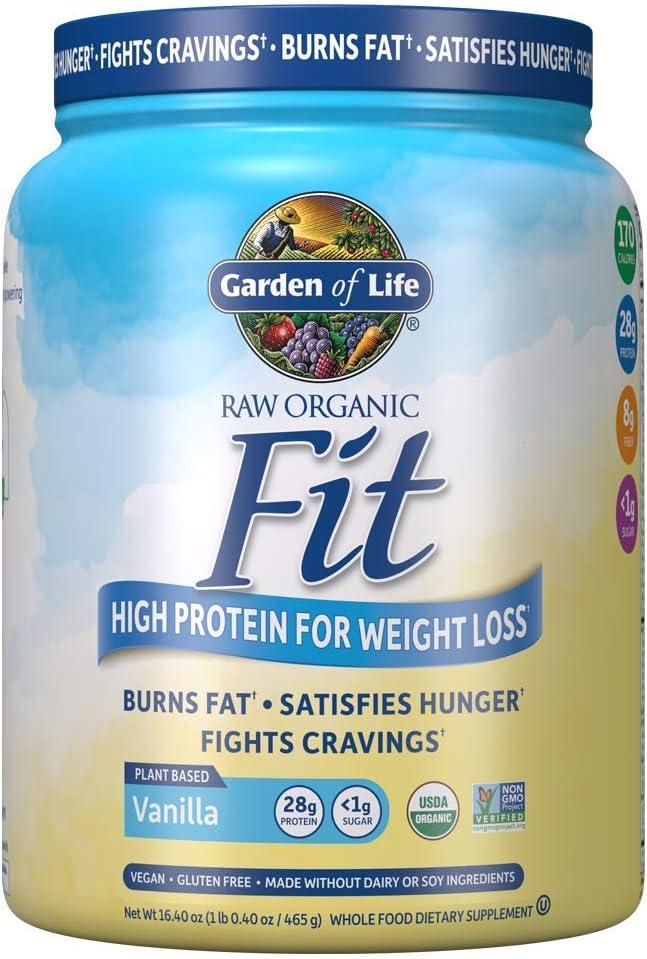 Amazon.com: Garden of Life Raw Organic Fit Powder, Vanilla - High Protein for Weight Loss (28g) Plus Fiber, Probiotics & Svetol, Organic & Non-GMO Vegan Nutritional Shake, 10 Servings: Health & Personal