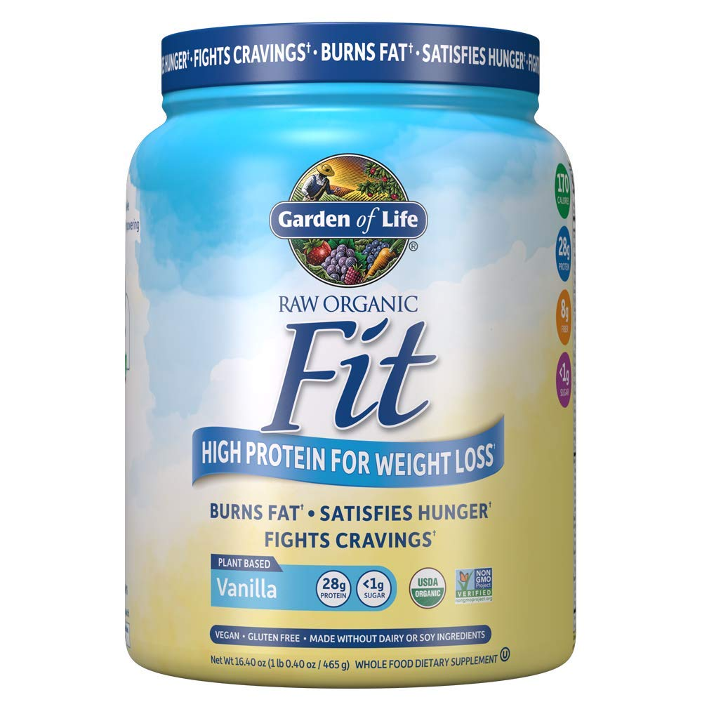 Garden of Life Organic Meal Replacement - Raw Organic Fit Powder, Vanilla - High Protein for Weight Loss (28g) Plus Fiber, Probiotics & Svetol, Organic & Non-GMO Vegan Nutritional Shake, 10 Servings by Garden of Life