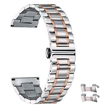 17b3acef50a 21mm Metal Watch Band Silver   Rose Gold 21 Stainless Steel Watch Bands  Replacement Metallic Wrist