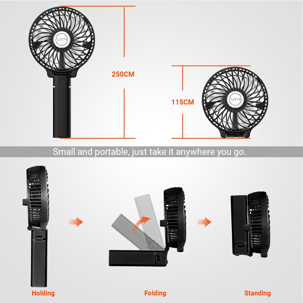Funme Mini Handheld Fan Portable Foldable USB Rechargeable LG 2600mAh Battery Operated Electric Fan Personal Desktop Cooling Fan with 3 Speed for Office/Home / Travel/Outdoor-Black by Funme (Image #5)
