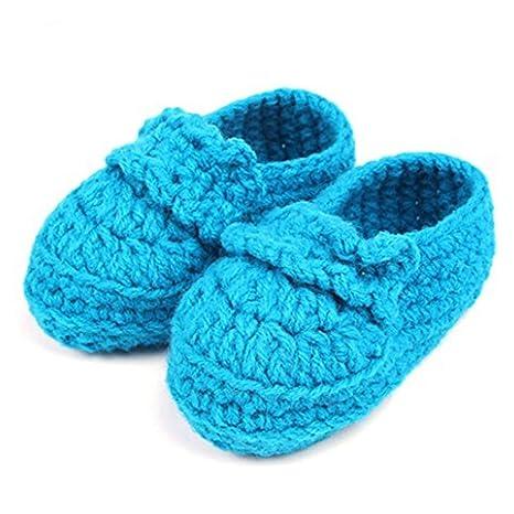 FuzzyGreen bebé recién nacido bebé niña niño mano tejer crochet Pre Walker cómodo Toddler hebilla zapatos