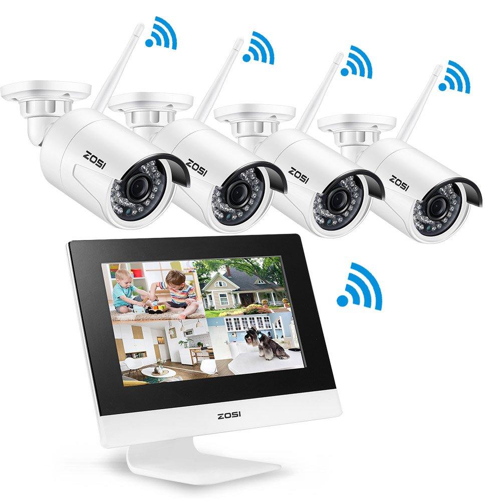 ZOSI 200万画素防犯カメラ ワイヤレスカメラ4台+オールインワンモニター カメラ無線接続 配線不要 防水仕様 暗視対応 スケジュール/モーション録画 再生対応 PC/iPhone/iPad/Androidでの遠隔監視対応 B071FFHKST