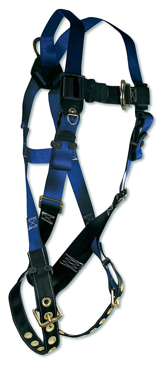FallTech 7016 Contractor Full Body Harness with 1 D-Ring and Tongue Buckle Leg Straps, Universal Fit (5 Pack)