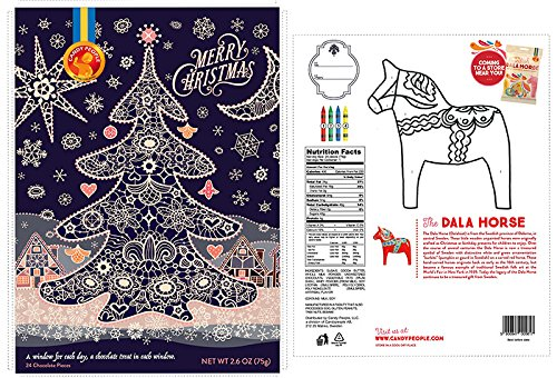 Advent Calendar 'Merry Christmas' Swedish Chocolate by Candy People 'Coloring Ornament Back' or 'Dala Horse Color by Number Back'