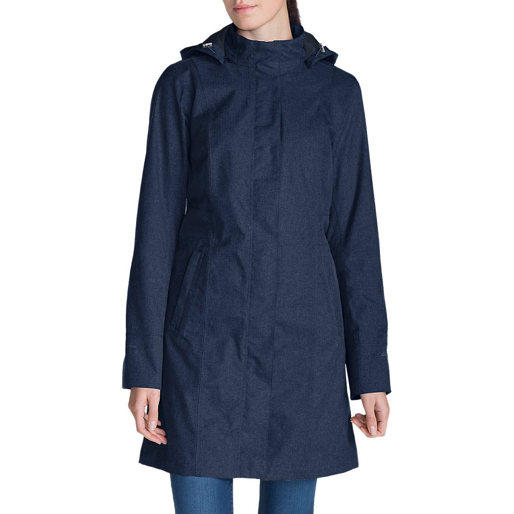 Eddie Bauer Women's Girl On The Go Insulated Trench Coat, Deep Indigo Tall XL Ta