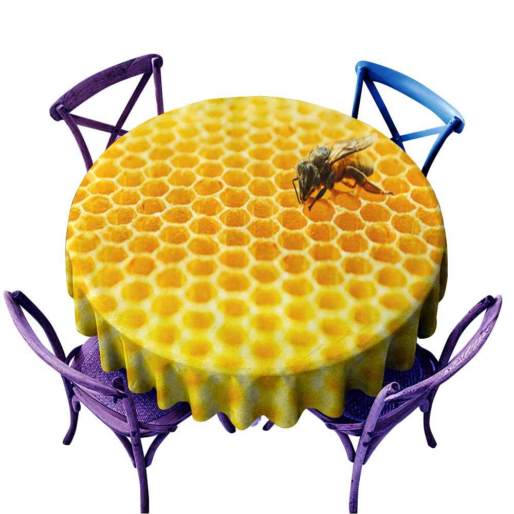 color03 67  Round(170CM) AndyTours Fashions Table Cloth,Bees in a beehive1,High-end Durable Creative Home,70 INCH
