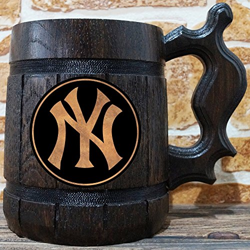(New York Yankees Beer Mug, Baseball Wooden Beer Stein, Sport Gift, Personalized Beer Stein, New York Yankees Tankard, Custom Gift for Men, Gift for Him)