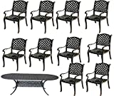 11 Pc Dining Set Cast Aluminum Patio Furniture 10 Nassau Chair's 1 42″x102″ Oval Table