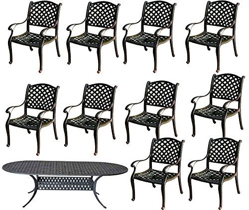 11 Pc Dining Set Cast Aluminum Patio Furniture 10 Nassau Chair's 1 42