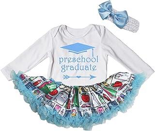 Petitebella Preschool Graduate White L/s Bodysuit Blue Stationery Dress Nb-18m