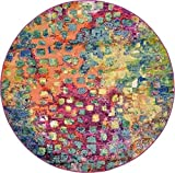 Unique Loom Barcelona Collection Multi 6 ft Round Area Rug (6' x 6')