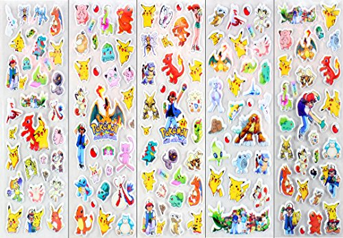One Pokemon Sticker (120 Pokemon Stickers 3D Puffy Foam - 5 Sheets of All Your Favorite Characters - Decorate With Pikachu And Friends - Durable Vinyl For Water Bottles, Bumper Stickers And More - Child-Safe Adhesive)