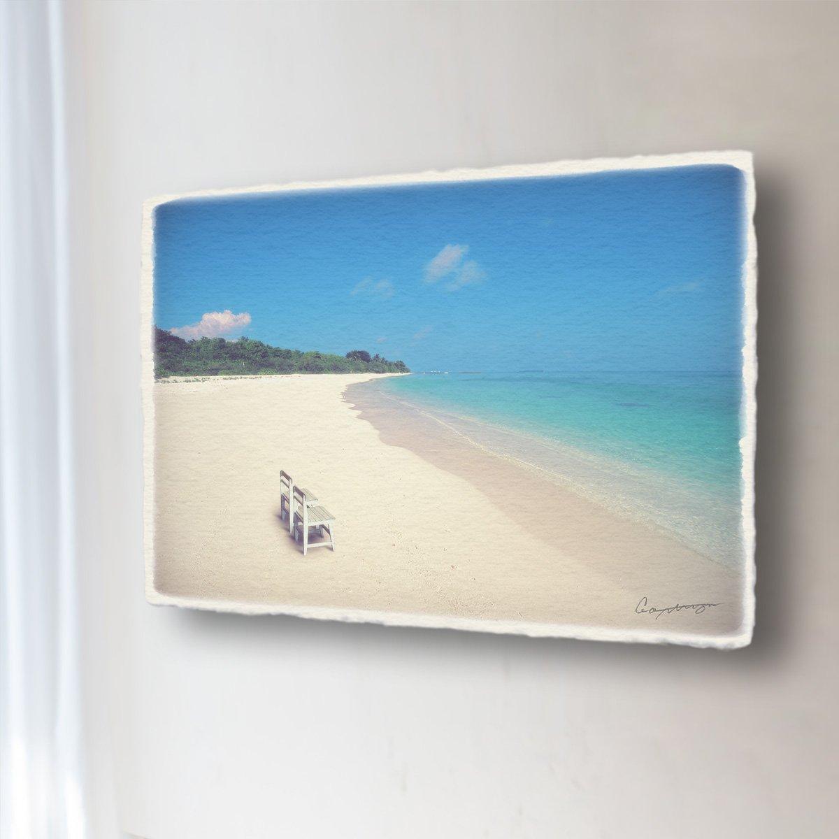 和紙 アートパネル 「どこまでも続く珊瑚礁の砂浜と白い椅子」 (68x45cm) 結婚祝い プレゼント 絵 絵画 壁掛け 壁飾り インテリア アート B07DRPKFC6 16.アートパネル(長辺68cm) 48000円|どこまでも続く珊瑚礁の砂浜と白い椅子 どこまでも続く珊瑚礁の砂浜と白い椅子 16.アートパネル(長辺68cm) 48000円