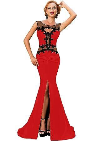8d79c05cd85 Élégant Mesdames longue robe de dentelle rouge et noir motif soirée  cocktail party Dance Club Wear