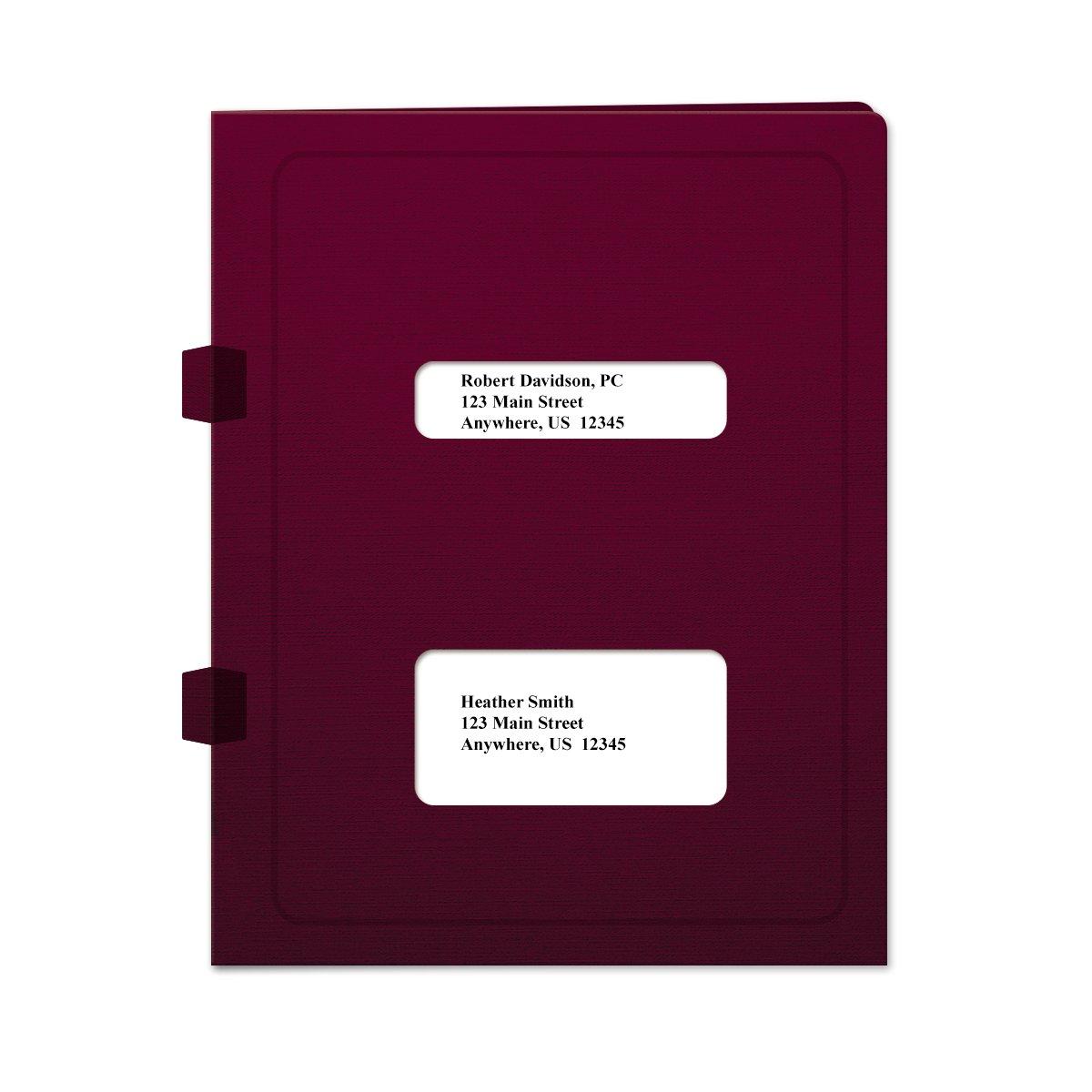 Window Tax Return Software Folder - Side-Tabbed Maroon - 50 Pack