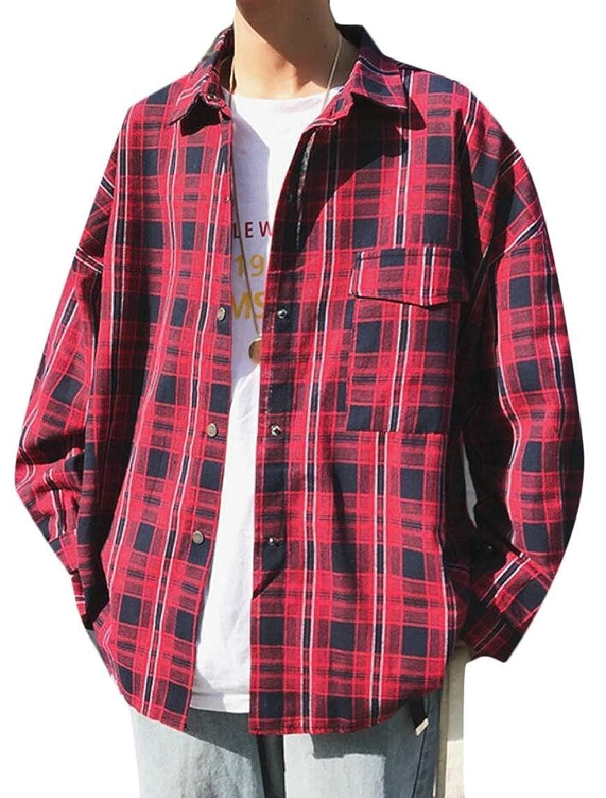 HTOOHTOOH Mens Casual Long Sleeve Plaid Stylish Button Front Shirts