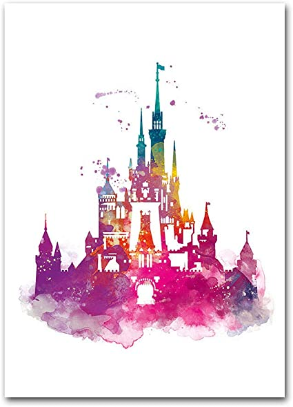 Watercolor Castle Canvas Modern Poster Nursery Wall Art Print Cartoon Princess Castle Canvas Painting Wall Picture Girls Room Decor40x60cm No Framed Amazon Co Uk Kitchen Home