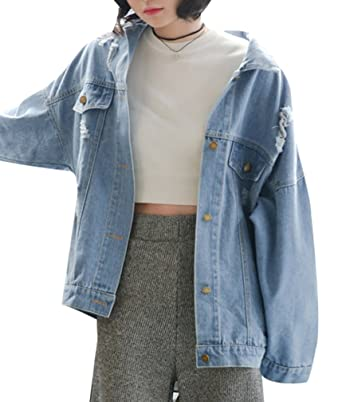 e54eff111 Yasong Women Girls Loose Fit Long Sleeve Vintage Denim Light Wash Faded  Boyfriend Jean Jacket Light Blue UK 12-14: Amazon.co.uk: Clothing