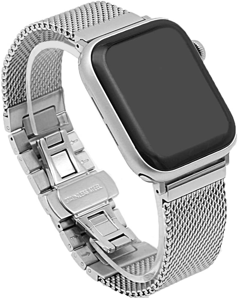 Fashion Sturdy Mesh&Solid Links Watch Band Compatible for Apple iWatch Watch Band 38mm/40mm Stainless Steel Watch Strap with Butterfly Buckle Compatible for iWatch Series 6 5 4 3 2 1 SE