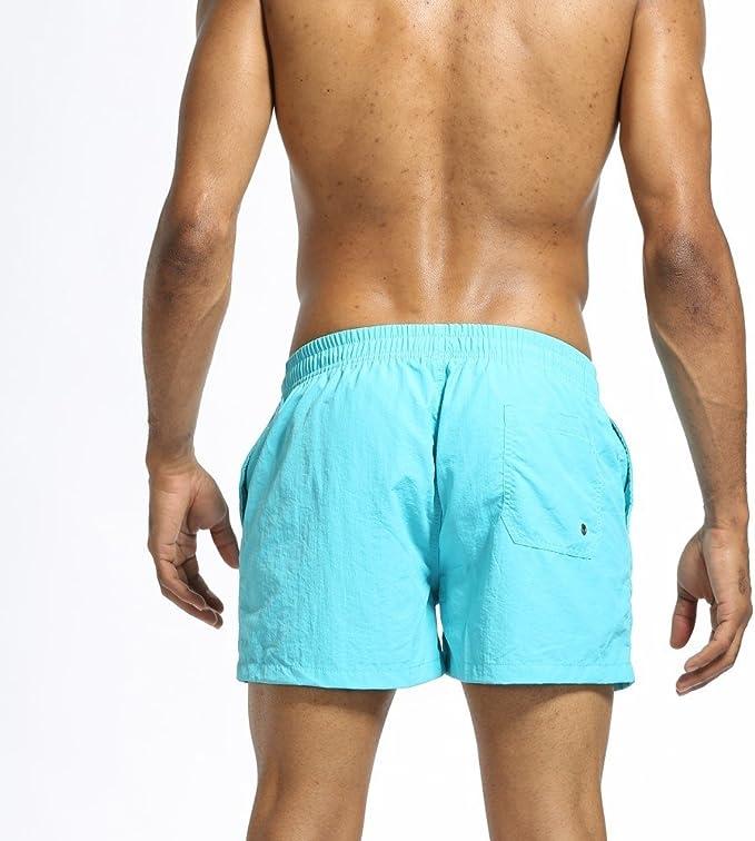 SSYUNO Mens Boys Short Solid Swim Trunks with Mesh Lining Quick Dry Beach Surfing Bathing Suits Swim Shorts