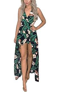 89bcab4ec5a Kbook Women s Sleeveless V-Neck Floral Print Split Beach Wedding Party Maxi  Romper Dress