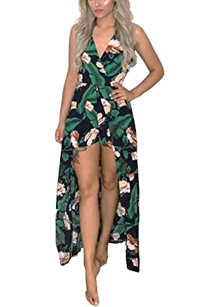 695d1ccf1008 Kbook Womens Sleeveless V-Neck Floral Print Split Beach Party Maxi Romper  Jumpsuit Dress