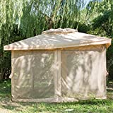 gazebo curtains 12x12 CO-Z Fully Enclosed Garden Outdoor Gazebo Patio Canopy 10' x 12' with Sheer Curtain, Waterproof (10x12 Strong Steel Frame + Canopy + Full Curtain)