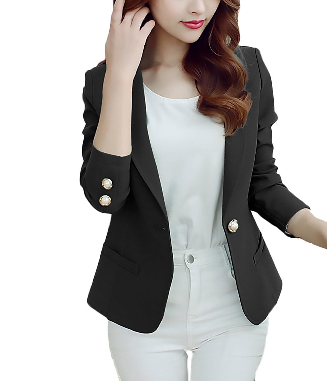 quality design 6db1f 8a062 Blazer Damen Elegant Business Langarm Uni-Farben Slim Fit ...