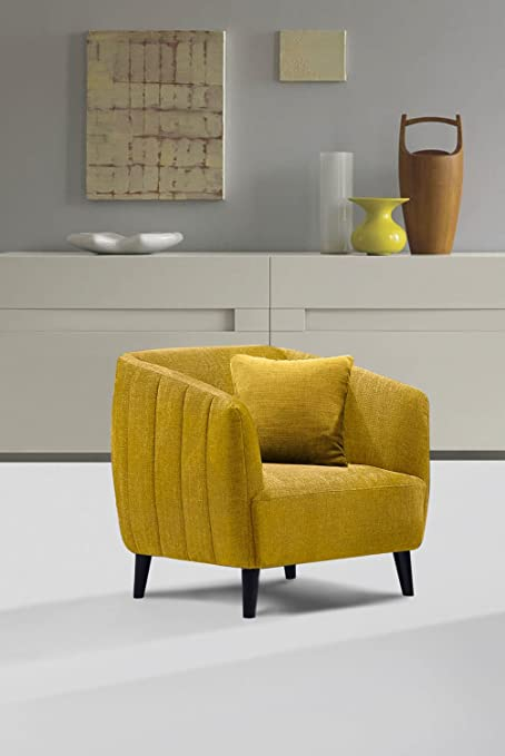 Amazoncom Diamond Sofa Deluca Dijon Yellow Fabric Chair Kitchen