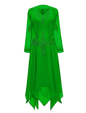 fde50510700 DINGZAN Tea Length Mother of The Bride Dress with Long Sleeve Jacket 2  Apple Green