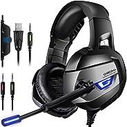CIC ONIKUMA K5 Fone de Ouvido Headset Gamer Profissional Estéreo Cancelamento de Ruído Microfone LED para PS4, PC, XBox, Note