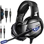 CIC ONIKUMA K5 Fone de Ouvido Headset Gamer Profissional Estéreo Cancelamento de Ruído Microfone LED para PS4, PC, XBox...