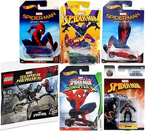 Homecoming Hot Wheels Spider-Man & Ultimate Sinister 6 Zotic Car & Black Suit Venom Mini Figure Die-Cast Metal NanoFig with Marvel Buildable Symbiote minifigure comes with the Super Jumper attachment