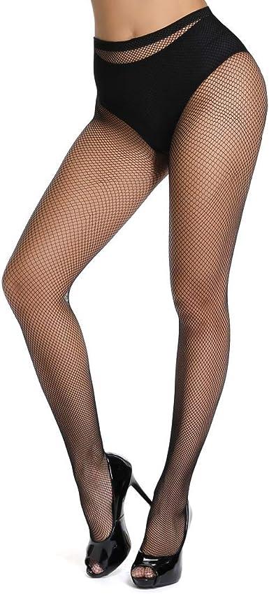 Ladies Black Fish Net Socquette Collants Perles Gros tissage-LS0062