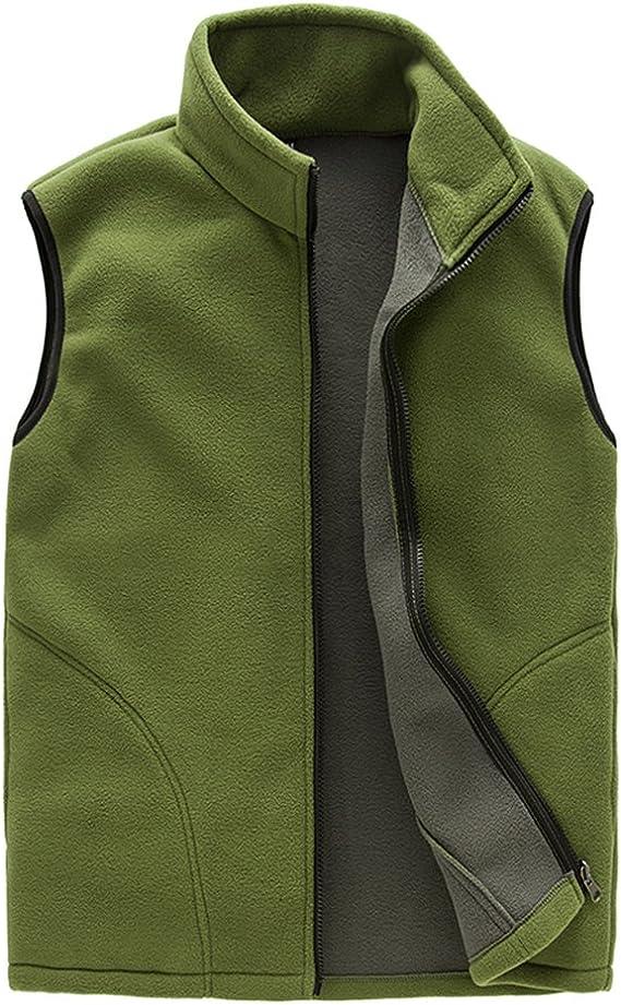 Panegy Gilet Mens Fleece Bodywarmer Winter Full Zip Sleeveless Jacket Plus Size Lightweight Waistcoat Outdoor Men Black Gray