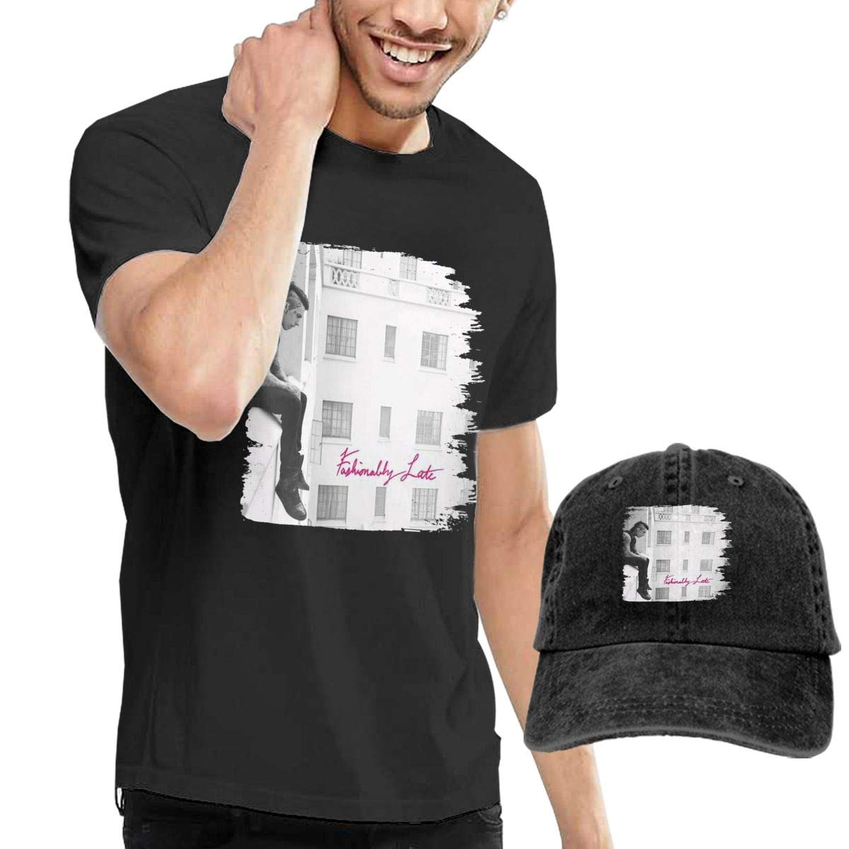 RKUQUVNTAO Mens Falling in Reverse Fashionably Late Tees and Washed Denim Baseball Dad Hats Black